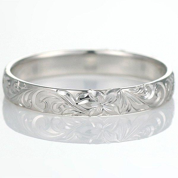 ハワイアンジュエリー 結婚指輪 人気 ホワイトゴールド 18金 幅約5mm 指輪 ファッション デザイン スクロール ブランド