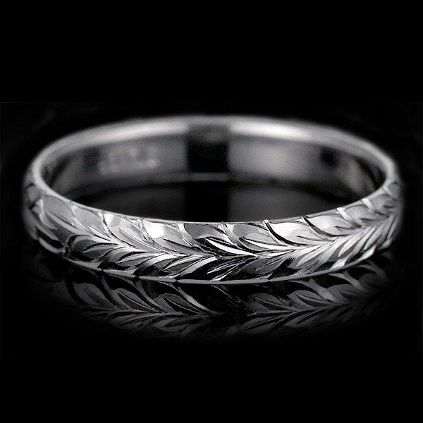 ハワイアンジュエリー 結婚指輪 人気 ホワイトゴールド 18金 幅約6mm 指輪 ファッション デザイン マイレ ブランド