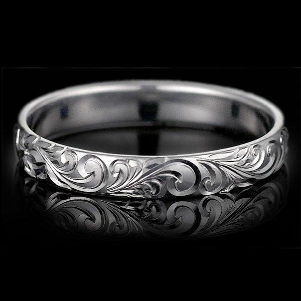 ハワイアンジュエリー 結婚指輪 人気 ホワイトゴールド 18金 幅約6mm 指輪 ファッション デザイン スクロール ブランド