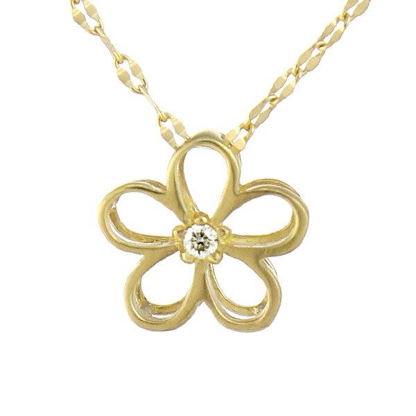 ネックレス K18イエローゴールド ダイヤモンド フラワーモチーフ 花 ダイヤ プレゼント