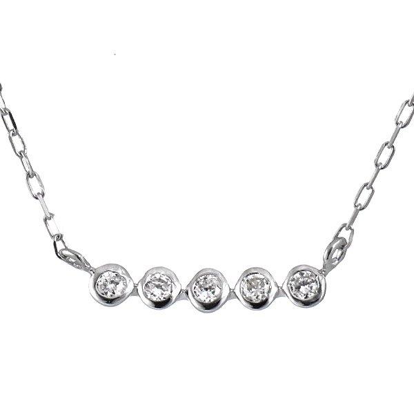 ネックレス K18ホワイトゴールド ダイヤモンド シンプル プレゼント
