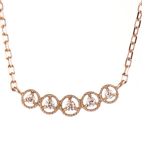 ネックレス K18ピンクゴールド ダイヤモンド シンプル レディース 人気 ダイヤ プレゼント