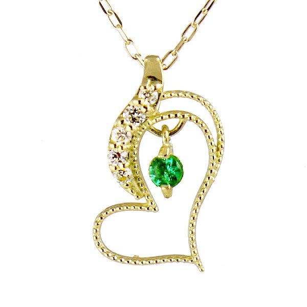 ネックレス K18イエローゴールド ダイヤモンド エメラルド ハート ダイヤ プレゼント