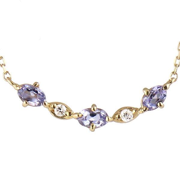 ネックレス K18イエローゴールド ダイヤモンド タンザナイト ダイヤ プレゼント 人気
