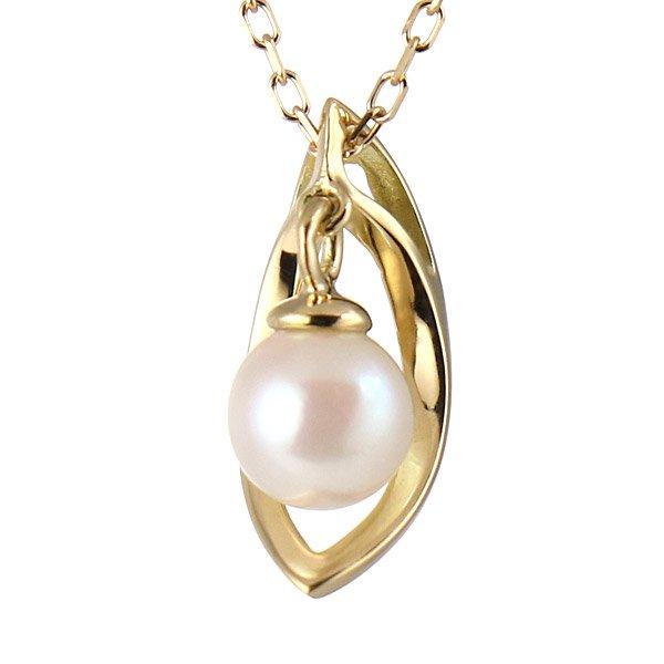 ネックレス K18イエローゴールド パール 真珠 シンプル プレゼント 人気
