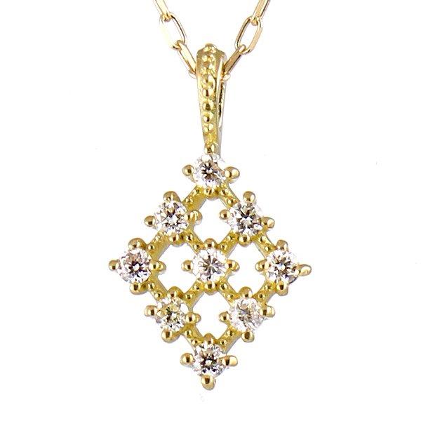 ネックレス K18イエローゴールド ダイヤモンド 菱形 ダイヤ プレゼント 人気