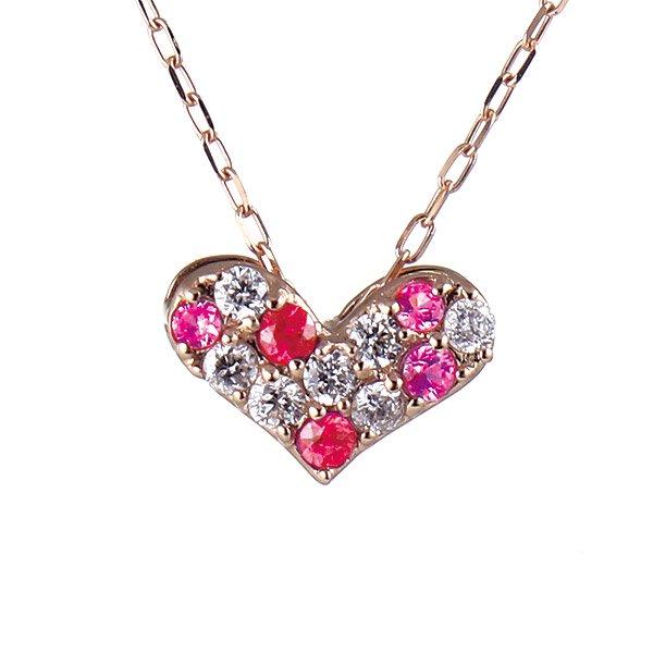 ネックレス K18ピンクゴールド ルビー ピンクトルマリン ダイヤモンド ハート 人気 プレゼント キュート