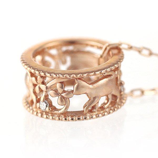 ネックレス ダイヤモンド K10ピンクゴールド 猫 キャット レディース 人気 プレゼント
