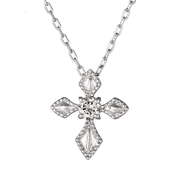 ネックレス K18ホワイトゴールド クロス モチーフ ダイヤモンド シンプル