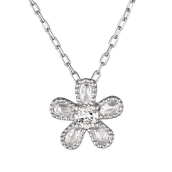 ネックレス K18ホワイトゴールド フラワー モチーフ ダイヤモンド シンプル