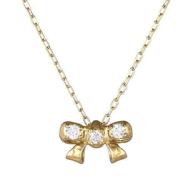 ネックレス K18 リボン モチーフ ダイヤモンド シンプル 人気