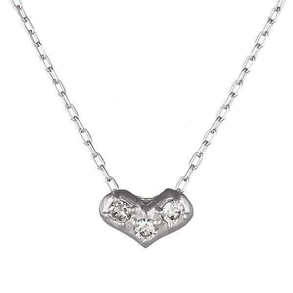 ネックレス K18ホワイトゴールド ハート モチーフ ダイヤモンド シンプル 人気