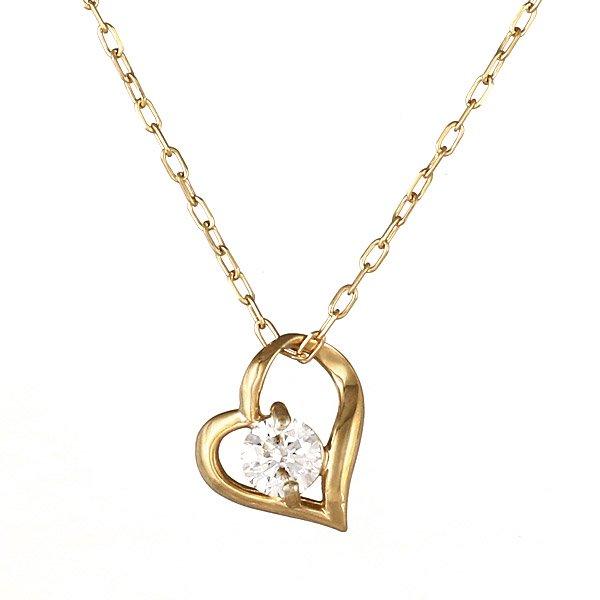 ネックレス K18 オープン ハート モチーフ ダイヤモンド シンプル 人気