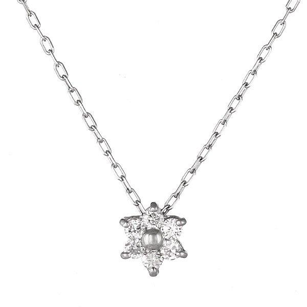 ネックレス K18ホワイトゴールド 星 スター モチーフ ダイヤモンド シンプル 人気 プレゼント
