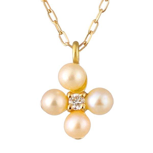 ネックレス ダイヤモンド ベビーパール クローバー K18 フラワー シンプル 人気
