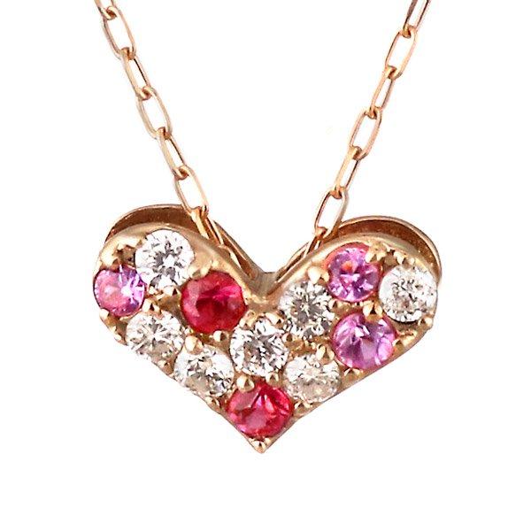 ネックレス ダイヤモンド ルビー ピンクサファイア K18ピンクゴールド ハート プレゼント 人気
