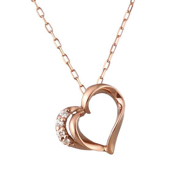 ネックレス ダイヤモンド K10ピンクゴールド ハート プレゼント 人気