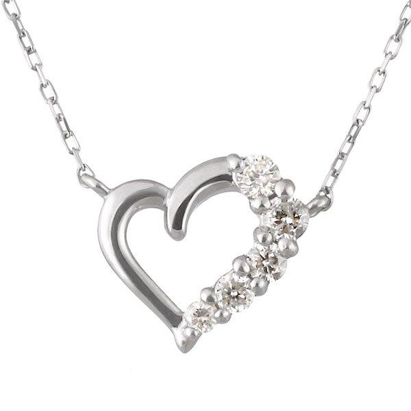 ネックレス ダイヤモンド K10ホワイトゴールド ハート プレゼント 人気