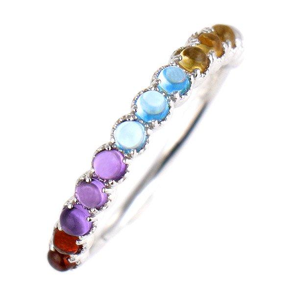 デザインリング 指輪 K10WG マルチカラー ファッション 人気 ホワイトゴールド 重ね付け おしゃれ