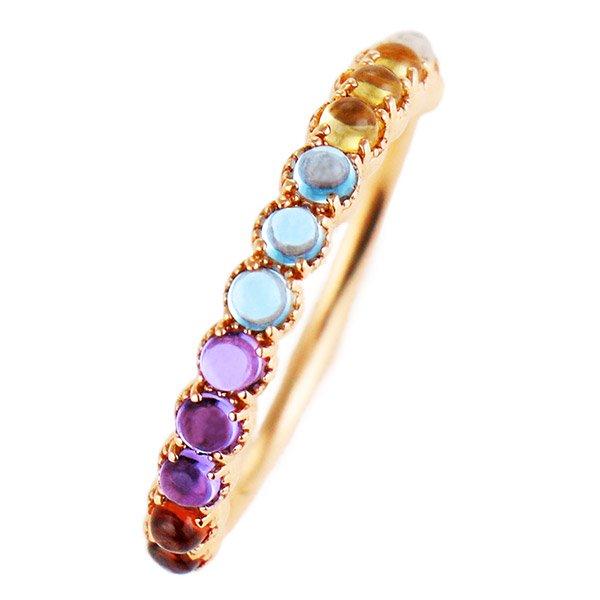 デザインリング 指輪 K10PG マルチカラー ファッション 人気 ピンクゴールド 重ね付け おしゃれ
