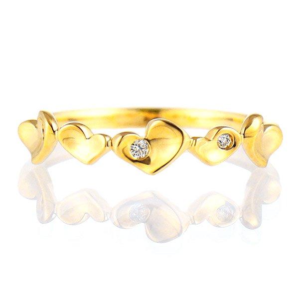 デザインリング 指輪 K18YG ダイヤモンド ハート ファッション 人気 18金 ゴールド 重ね付け おしゃれ