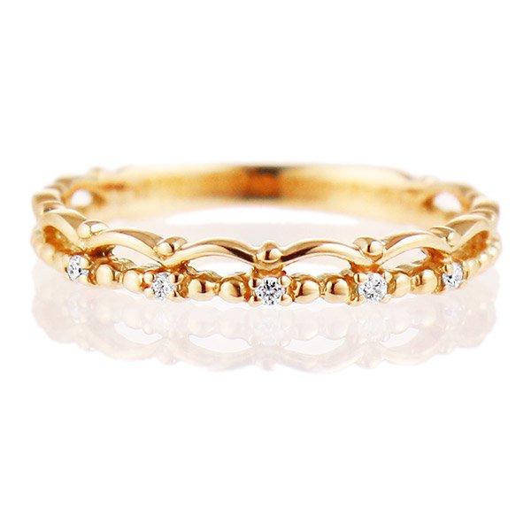 デザインリング 指輪 K18PG ダイヤモンド ファッション 人気 18金 ピンクゴールド 重ね付け おしゃれ