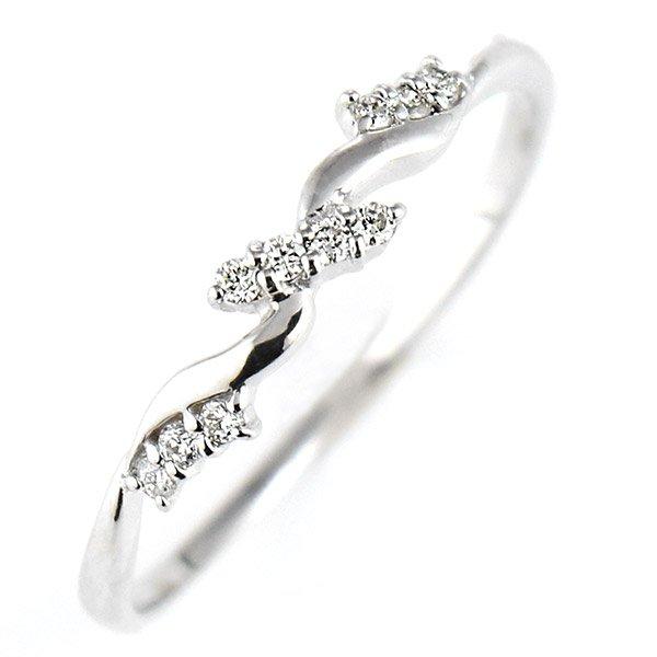 デザインリング 指輪 K18WG ダイヤモンド ファッション 人気 18金 ホワイトゴールド 重ね付け おしゃれ
