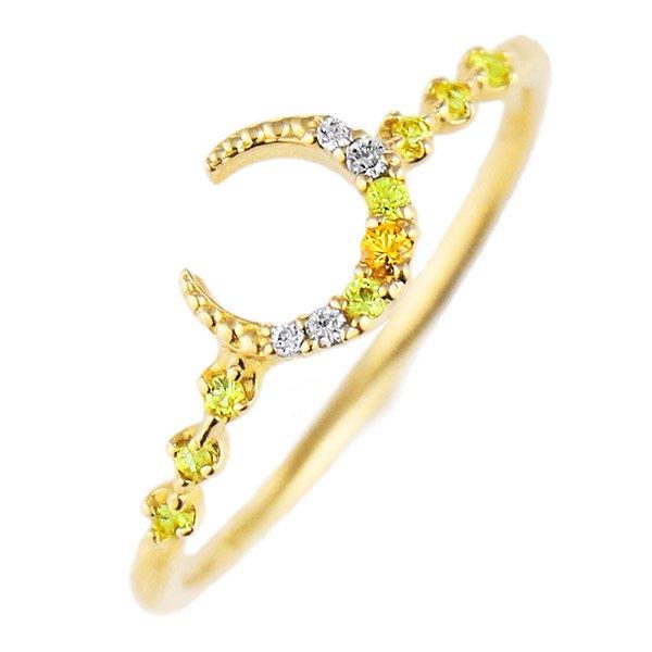 デザインリング 指輪 K18YG サファイア ファッション 人気 18金 ゴールド 重ね付け おしゃれ