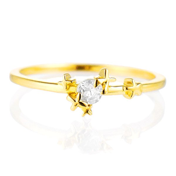 デザインリング 指輪 K18YG ムーンストーン ファッション 人気 18金 ゴールド 重ね付け おしゃれ