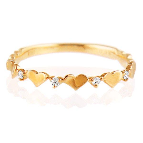 デザインリング 指輪 K18PG ダイヤモンド ハート ファッション 人気 18金 ピンクゴールド 重ね付け おしゃれ