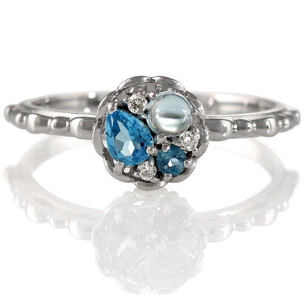 ダイヤモンド ブルートパーズ リング 指輪 人気 レディース プレゼント ホワイトゴールド
