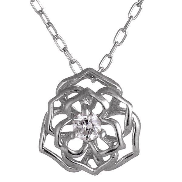 ネックレス ダイヤモンド K10ホワイトゴールド フラワー お花 プレゼント