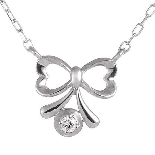 ネックレス ダイヤモンド リボン K10ホワイトゴールド プレゼント