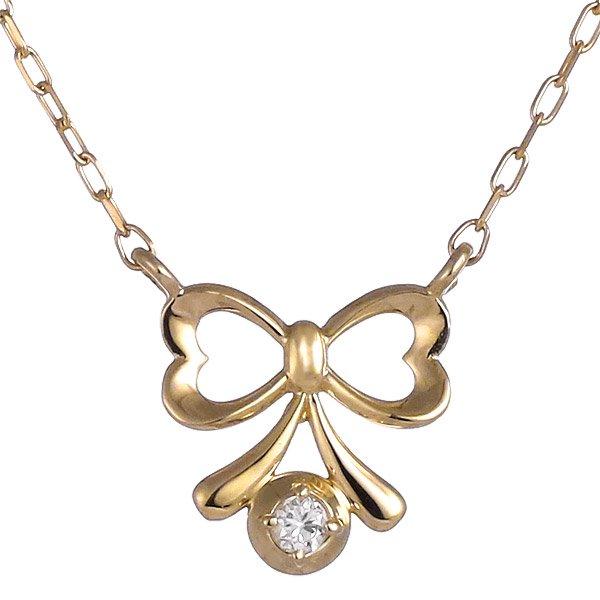 ネックレス ダイヤモンド リボン K10イエローゴールド プレゼント