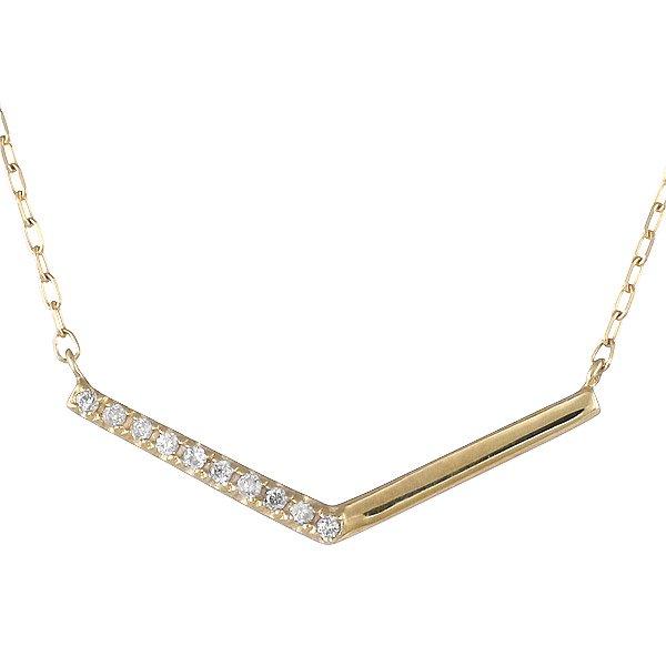 ネックレス ダイヤモンド シンプル K10イエローゴールド 10粒ダイヤモンド プレゼント