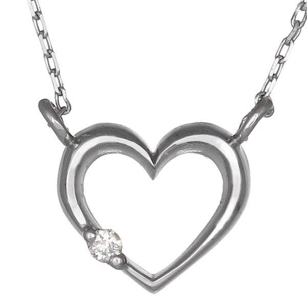 ネックレス ダイヤモンド オープン ハート K10ホワイトゴールド プレゼント
