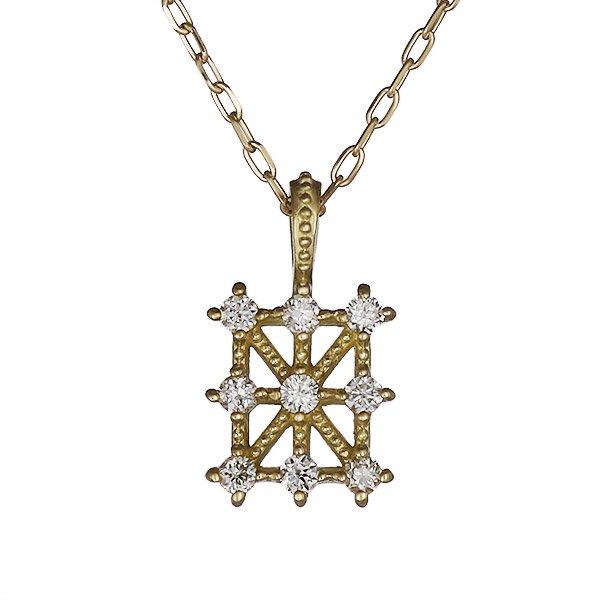 ネックレス ダイヤモンド シンプル K18イエローゴールド プレゼント スクエア