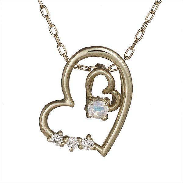 ネックレス ムーンストーン ダイヤモンド ハート K10イエローゴールド プレゼント ダイヤネックレス