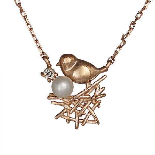 ネックレス ダイヤモンド 小鳥 バード 淡水パール K10ピンクゴールド プレゼント