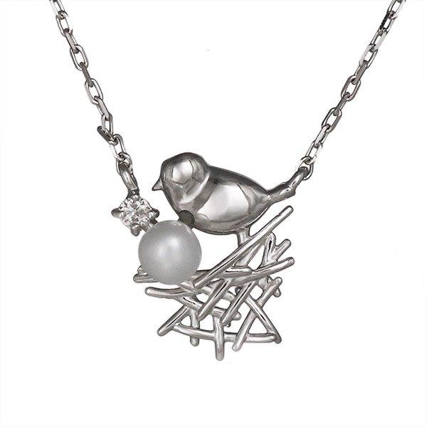 ネックレス ダイヤモンド 小鳥 バード 淡水パール K10ホワイトゴールド プレゼント