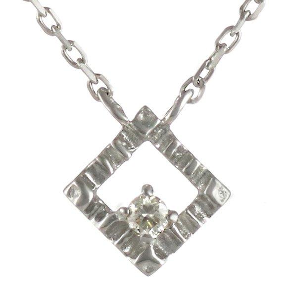 ネックレス ダイヤモンド スクエア K18ホワイトゴールド ダイヤネックレス