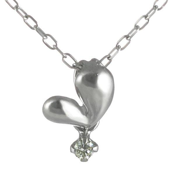 ネックレス ダイヤモンド ハート K18ホワイトゴールド ダイヤネックレス