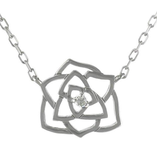 ネックレス ダイヤモンド フラワー お花 バラ K18ホワイトゴールド ダイヤネックレス