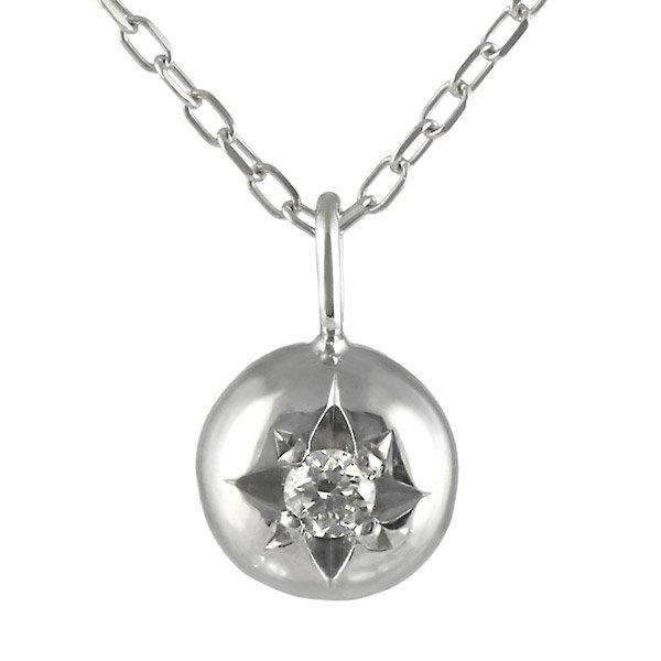 ネックレス ダイヤモンド 一粒 K18ホワイトゴールド ダイヤネックレス シンプル