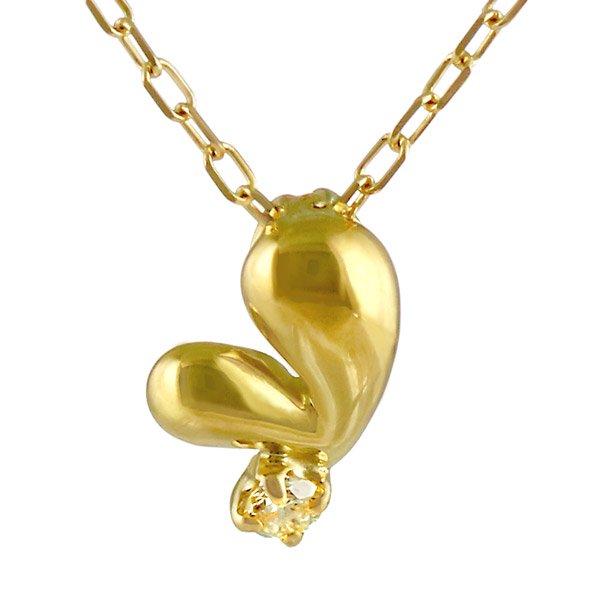 ネックレス ダイヤモンド ハート K18イエローゴールド ダイヤネックレス