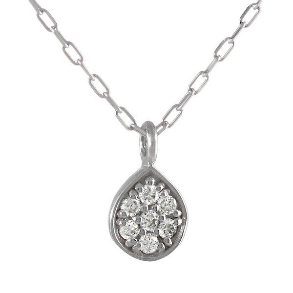 ネックレス ダイヤモンド ドロップ しずく  K18ホワイトゴールド ダイヤネックレス