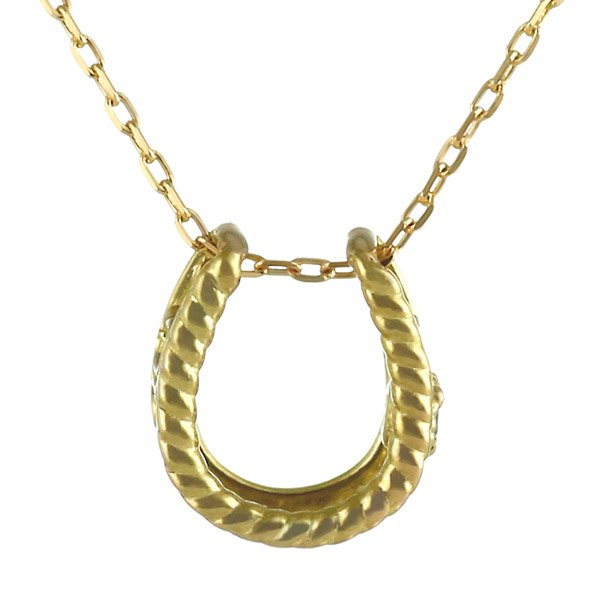 ネックレス エメラルド 馬蹄 ホースシュー K18イエローゴールド シンプル ネックレス