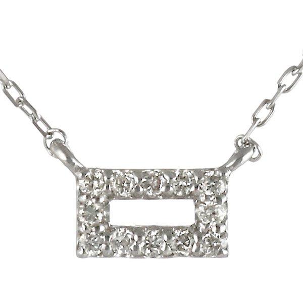 ネックレス ダイヤモンド スクエア K18ホワイトゴールド スタイリッシュ ネックレス
