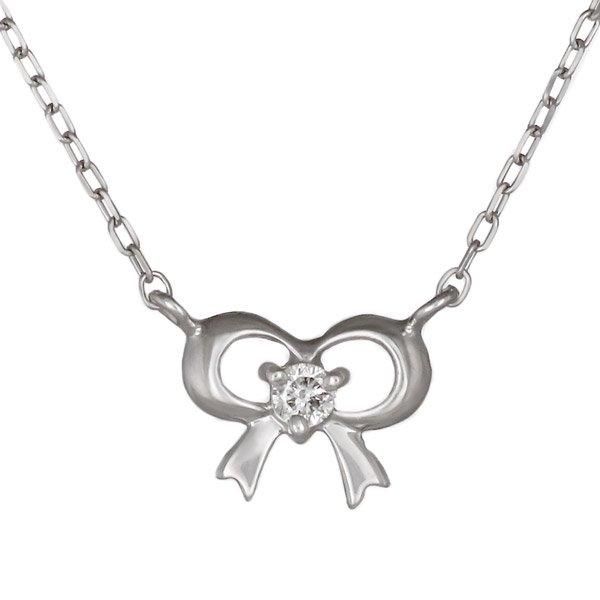 ネックレス ダイヤモンド リボン K18ホワイトゴールド ダイヤネックレス