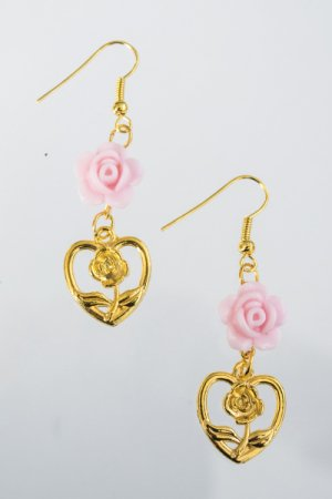 XTS Pink Rose Hearts Gold Pierce